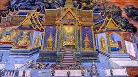 Arte tailandés de la pintura del estilo viejo y x28; 1931& x29; de la historia de Ramayana en la pared del templo de Wat Phra Kae Fotos de archivo libres de regalías