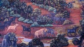 Arte tailandés de la pintura del estilo viejo y x28; 1931& x29; de la historia de Ramayana en la pared del templo de Wat Phra Kae Imagenes de archivo