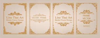 Arte tailandés, marco de la frontera del oro con la línea de Tailandia floral para la imagen, estilo del modelo de la decoración  Imágenes de archivo libres de regalías