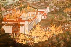 Arte tailandés tradicional de la pintura del estilo Imágenes de archivo libres de regalías
