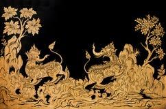Arte tailandés tradicional de la pintura del estilo Fotografía de archivo libre de regalías