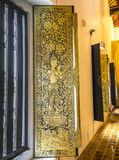 Arte tailandés tradicional de la pintura del estilo en el templo Fotos de archivo