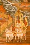 Arte tailandés tradicional de la pintura del estilo en la pared del templo Fotos de archivo libres de regalías