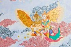Arte tailandés tradicional de la pintura del estilo en la pared del templo Foto de archivo