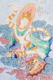 Arte tailandés tradicional de la pintura del estilo en la pared del templo Imagen de archivo libre de regalías