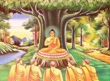 Arte tailandés tradicional de la pintura del estilo en la pared del templo Imagenes de archivo