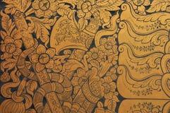 Arte tailandés tradicional en la pared Fotografía de archivo libre de regalías