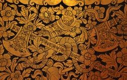 Arte tailandés tradicional en la pared Imagen de archivo
