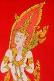Arte tailandesa da pintura do estilo no templo tailandês público Fotografia de Stock