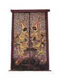 Arte tailandesa na porta do isolamento tailandês do templo no branco Imagens de Stock Royalty Free