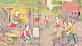 Arte tailandesa na vida nativa velha Foto de Stock