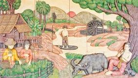 Arte tailandesa na vida nativa velha Imagem de Stock