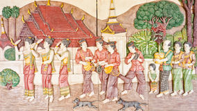 Arte tailandesa na vida nativa velha Imagens de Stock Royalty Free