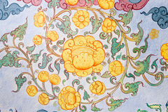 Arte tailandesa tradicional da pintura do estilo na parede do templo Imagens de Stock