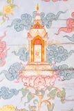 Arte tailandesa tradicional da pintura do estilo na parede do templo Fotografia de Stock