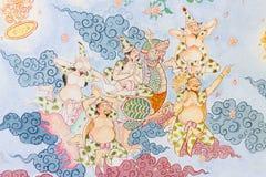 Arte tailandesa tradicional da pintura do estilo na parede do templo Fotografia de Stock Royalty Free