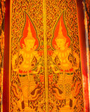 Arte tailandesa tradicional da pintura na madeira Foto de Stock Royalty Free