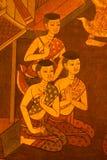 Arte tailandese del reticolo sulle pareti del tempiale. Immagine Stock