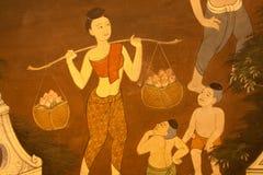 Arte tailandese del reticolo sulle pareti del tempiale. Fotografia Stock Libera da Diritti