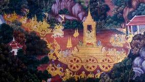 Arte tailandese della pittura di stile vecchia & x28; 1931& x29; della storia di Ramayana sulla parete del tempio di Wat Phra Kae Fotografie Stock Libere da Diritti