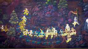 Arte tailandese della pittura di stile vecchia & x28; 1931& x29; della storia di Ramayana sulla parete del tempio di Wat Phra Kae Immagini Stock Libere da Diritti