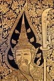 Arte tailandese tradizionale della vernice di stile Fotografie Stock Libere da Diritti