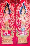 Arte tailandese tradizionale di pittura sulla porta del tempio tailandese Fotografie Stock Libere da Diritti