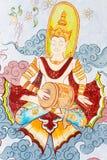 Arte tailandés tradicional de la pintura del estilo en la pared del templo Imagen de archivo