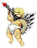 Arte tatuata di vettore di Cupidon illustrazione di stock