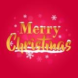 Arte tipografica dorata di vettore di Buon Natale Fotografia Stock