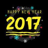 Arte tipografica gialla di vettore del buon anno 2017 Fotografia Stock