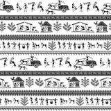 Arte tribale di warli senza cuciture illustrazione vettoriale
