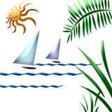 Arte tropical del barco de vela Imagenes de archivo