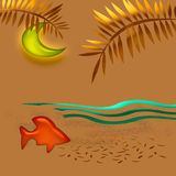 Arte tropical del ocaso Imágenes de archivo libres de regalías