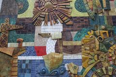 Arte urbana astratta della via a Valencia, Spagna Immagini Stock Libere da Diritti
