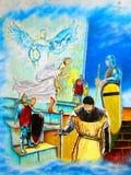 Arte urbana cavaleiros e Jesus medievais Foto de Stock Royalty Free