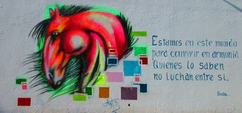 Arte urbana Cavalo de Multicolors Imagem de Stock Royalty Free