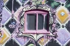 Arte urbana della via intorno alla finestra Fotografia Stock Libera da Diritti