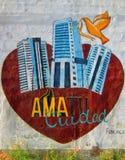 Arte urbano Ame su ciudad Imagen de archivo