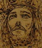 Arte woodburning de Jesus Imagens de Stock