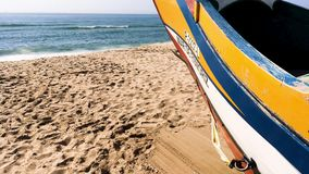 Arte Xavega typical boat. Espinho, Portugal - July 16, 2017: Arte Xavega typical portuguese old fishing boat on the beach in Paramos, Portugal stock video
