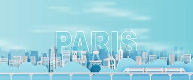 Arte y arte de papel de la ciudad Francia, señales de París de la torre Eiffel del día de fiesta que viaja del tren del transport libre illustration
