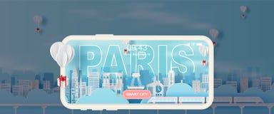 Arte y arte de papel de la ciudad Francia, señales de París de la torre Eiffel del día de fiesta que viaja del tren del transport stock de ilustración