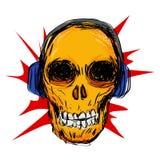 Arte y música del cráneo ilustración del vector