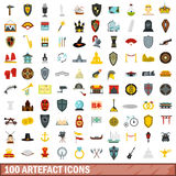 100 artefact icons set, flat style. 100 artefact icons set in flat style for any design vector illustration Royalty Free Stock Photo