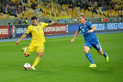 Artem Fedetskiy is ready to kick the ball Stock Images