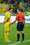 Artem Fedetskiy and referee Royalty Free Stock Images