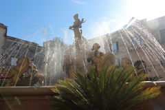 Artemide`s fountain in Siracuse. Artemide`s fountain with jet-flowing water Stock Images