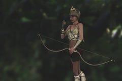 Artemis希腊女神在森林里 免版税库存图片