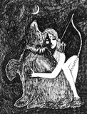 Artemis and Bear ink sketch fantasy Royalty Free Stock Images